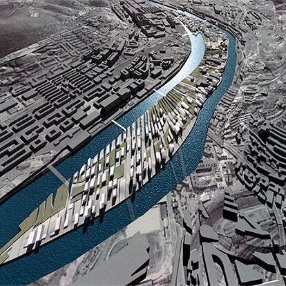 Vista aérea informática del plan de ordenación de Zorrozaurre, realizado por Zaha Hadid.