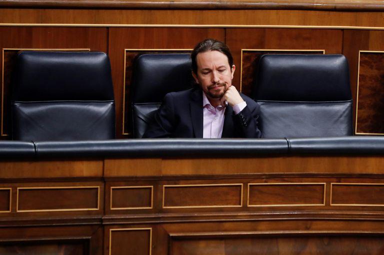 El vicepresidente Pablo Iglesias, durante la sesión de control al Ejecutivo este miércoles.