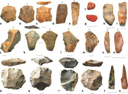 Herramientas de piedra del yacimiento de Dhaba, en la India, producidas en un periodo desde hace 80.000 años hasta hace 25.000