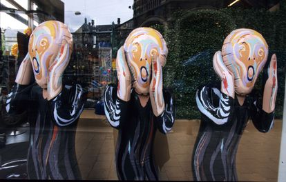 Figures from 'The Scream' by Edvard Munch in a souvenir shop in Amsterdam.