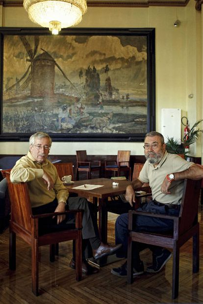 Igancio Fernández Toxo y Cándido Méndez, tras la entrevista.