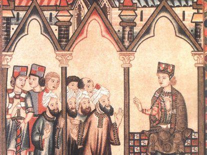 Alfonso X el Sabio dialoga con médicos árabes en una imagen sacada del libro 'La Medicina en Al Andalus'.
