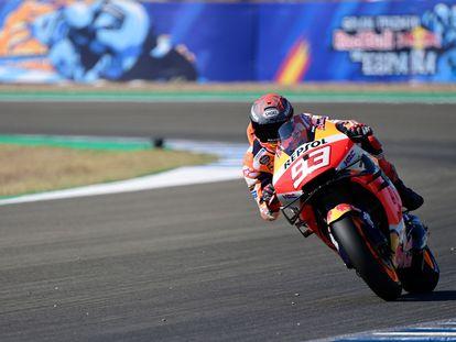 Marc Márquez en la clasificación del Gran Premio de Andalucía 2020 de MotoGP, en el Circuito de Jerez.