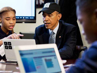 El expresidente Barack Obama figura entre los líderes mundiales que apoyan la labor de CODE.org.