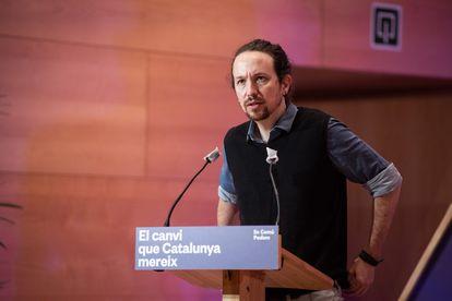 Pablo Iglesias durante el acto central de campaña de En Comú Podem para las elecciones catalanas.