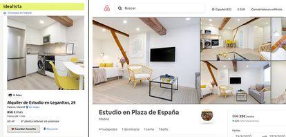 Comparación de dos anuncios de un mismo piso en el portal inmobiliario Idealista (izquierda) y en la plataforma de alquiler turístico de AirBnB, recopilados por el sociólogo y portavoz del Sindicato de Inquilinas de Madrid, Javier Gil.