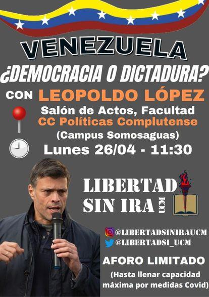 Foto del cartel de la charla, que se iba a celebrar en la Facultad de Ciencias Políticas y Sociología.