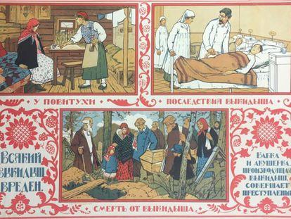Póster sobre el aborto de la Rusia de los años veinte, cuando el país legalizó esta práctica.