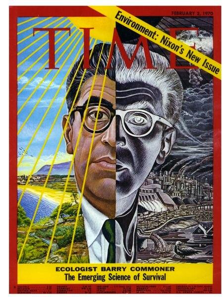 Portada de 'Time', del 2 de febrero de 1970, realizada por Mati Klarwein con el retrato del ecologista Barry Commoner.