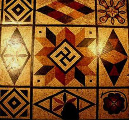 Mosaico romano en Lyon (Francia).