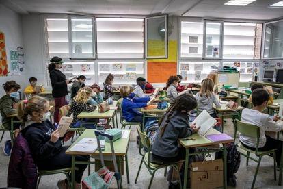Un aula en un colegio público valenciano.