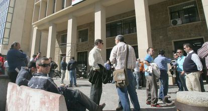 Protesta de extrabajadores de Delphi, en 2008.
