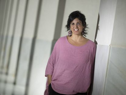 La secretaria general de Podemos en Andalucía, Teresa Rodríguez, el pasado jueves en el Parlamento andaluz.