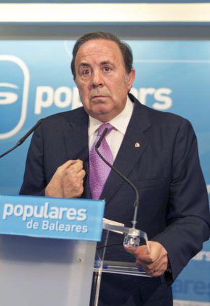 José María Rodríguez, durante la rueda de prensa que ha ofrecido tras presentar su dimisión como delegado de Gobierno de  Baleares.
