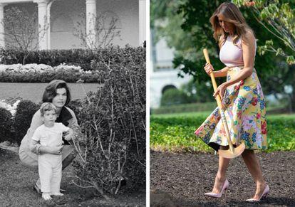 A la izquierda, Jackie Kennedy con John Fitzgerald Kennedy Jr. en el Rose Garden de la Casa Blanca durante la recepción al entonces primer ministro de Algeria, Ahmed Ben Bella, en octubre de 1962. A la derecha, Melania Trump, en agosto de 2018, plantando un retoño del roble Eisenhower, que había sido retirado de los terrenos del palacio presidencial el año anterior.  
