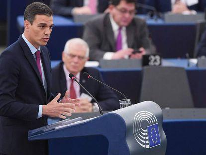 El presidente del Gobierno, Pedro Sánchez, hoy en el Parlamento Europeo.