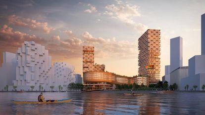 Sidewalk Labs está ensayando para Quayside los edificios en altura hechos de madera en masa, tan resistente como el acero o el hormigón, y yeso Shikkui, elaborado con algas y cáscaras de huevo. Imagen de la ciudad vista desde el puerto. |