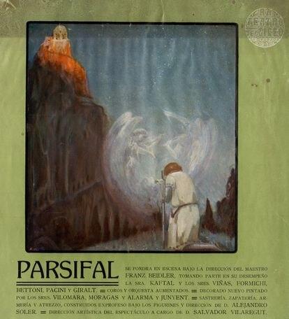 Cartel de la representación de 'Parisfal' en la Nochevieja de 1913 en el Liceo de Barcelona. Fue el primer teatro de Europa en representar la gran ópera wagneriana después de Bayreuth en 1882.