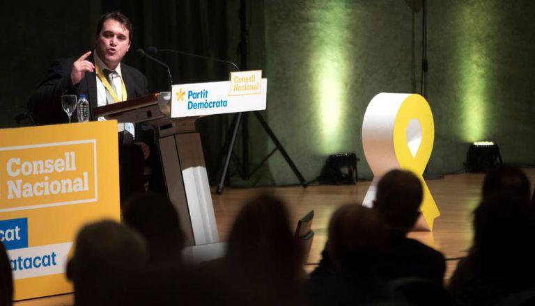 El presidente del PDeCAT, David Bonvehí, en el último consejo nacional.