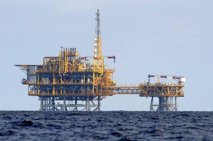 Plataforma del almacén de gas de Castor, en octubre de 2013.