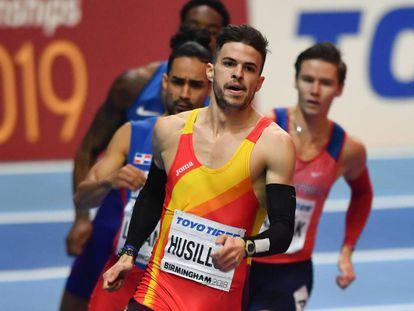 Óscar Husillos, en la final de 400m del Mundial de Birmingham en marzo.