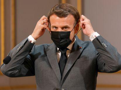 Emmanuel Macron, en el palacio del Elíseo, el pasado sábado.