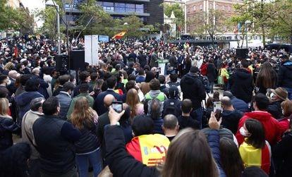 Acto de Vox este martes en la céntrica plaza de Daoiz y Velarde en Madrid.