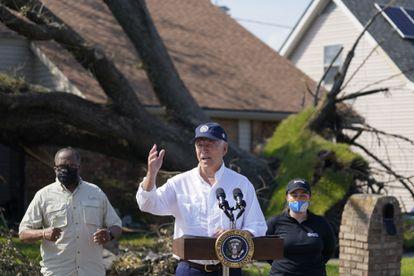 El presidente Joe Biden, este viernes durante una visita a LaPlace (Luisiana) para comprobar los daños del huracán Ida.