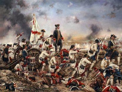 Las fuerzas españolas lideradas por Bernardo de Gálvez durante la batalla de Pensacola (Florida), obra de Augusto Ferrer-Dalmau (2015)