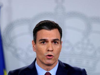 El presidente del Gobierno, Pedro Sánchez, en su última comparecencia en La Moncloa.