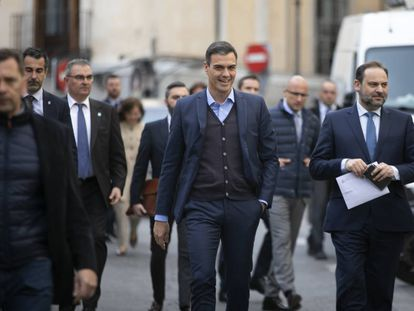 Sánchez y Ábalos a su llegada a la ejecutiva del PSOE.