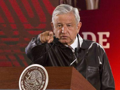 López Obrador en una conferencia de prensa, este lunes.