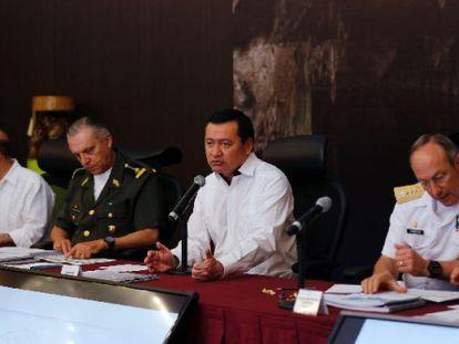 El secretario de Gobernación, Osorio Chong, en reunión en Tamaulipas este miércoles.