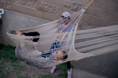 Patricio De Loza (12 years old) plays with his sister Inés De Loza (9) at their home in the municipality of Metepec on March 10, 2021. Click on the image to see the complete photo gallery.
