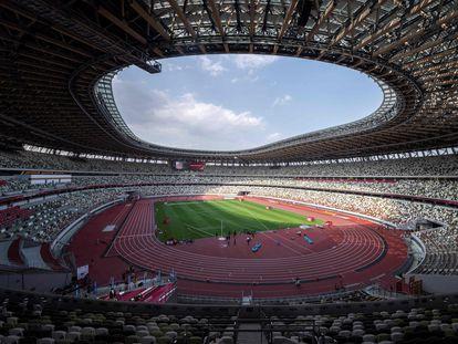 El Estadio Olímpico de Tokio, durante un ensayo para las pruebas de atletismo, en mayo de 2021.