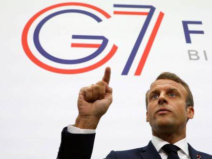 El presidente francés, Emmanuel Macron, hace unas declaraciones en la cumbre del G7 de Biarritz.