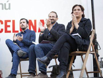 Garzón, Herrera y Colau en el acto celebrado ayer en el Poblenou