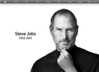 Página de inicio de Apple tras la muerte de Steve Jobs.
