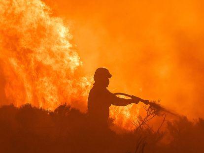 Un bombero participa en las labores de extinción del incendio entre Navalacruz y Riofrío (Ávila), este lunes.