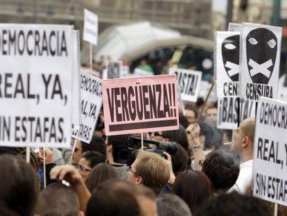 Protesta de Democracia Real Ya en la puerta del Sol.