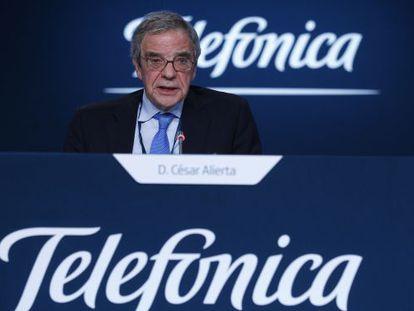 César Alierta, presidente de Telefónica, en la junta de accionistas de 2015