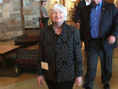 Janet Yellen a su llegada al simposio de banqueros centrales