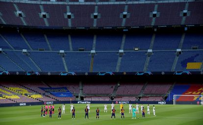 El Camp Nou, vacío durante su enfrentamiento de Champions con el Nápoles el año pasado.