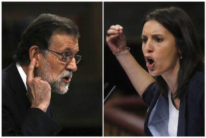 El presidente del Gobierno, Mariano Rajoy, y la portavoz de Unidos de Podemos, Irene Montero, durante sus respectivas intervenciones en el Congreso de los Diputados.
