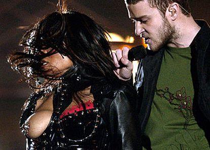 Janet Jackson y Justin Timberlake, durante el concierto de la Super Bowl.