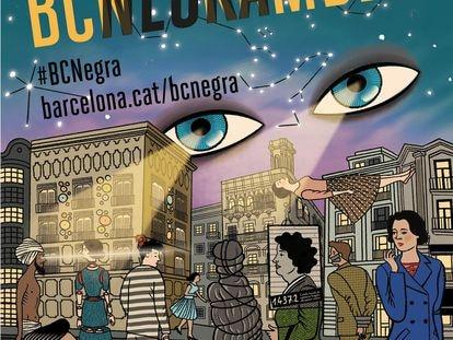 Cartel del festival BCNegra de 2021, obra de José Luis Merino.