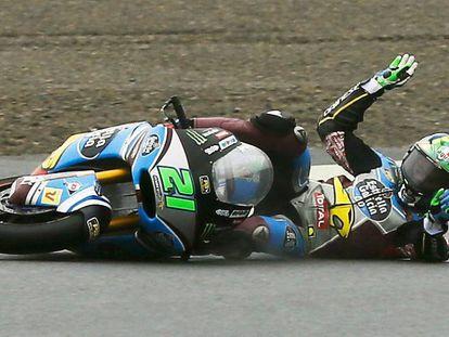 Franco Morbidelli se cae en Motegi.