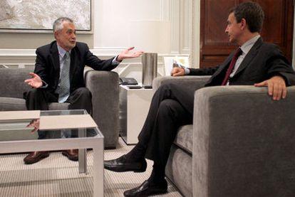 José Antonio Griñán y José Luis Rodríguez Zapatero, el pasado 23 de agosto en La Moncloa.