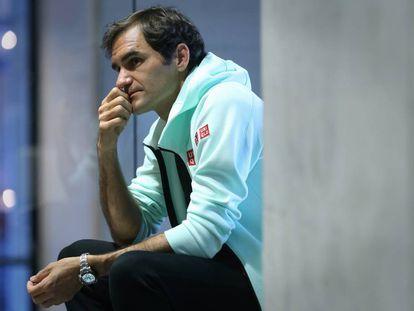 Roger Federer, durante la entrevista en la Caja Mágica de Madrid.