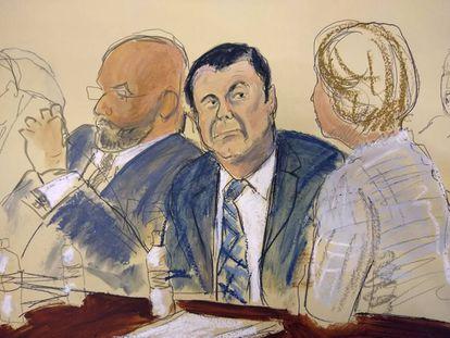 Dibujo de Joaquin 'El Chapo' Guzmán durante el juicio.